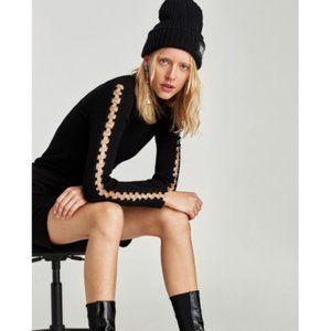 Zara Knit Turtleneck Sweater with Sleeve Rings